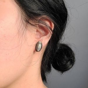 Sarah Cov. sterling shell carved cameo earrings